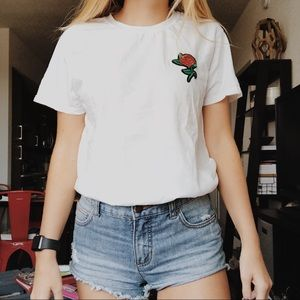 White Rose Patch T-Shirt VSCO Style